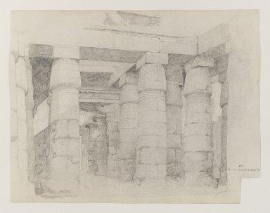 Edwin Howland Blashfield (American, 1848-1936). <em>Temple of Khonsu at Karnak</em>, 1887. Graphite on medium, cream, slilghtly textured, wove paper, Sheet (uneven): 10 5/8 x 13 3/4 in. (27 x 34.9 cm). Brooklyn Museum, Gift of John H. Field, 48.217.8 (Photo: Brooklyn Museum, 48.217.8_PS4.jpg)