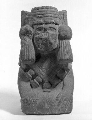 Aztec. <em>Andesite Figure of a Seated Goddess</em>, ca. 1440-1521. Volcanic stone (andesite), 14 9/16 x 8 1/4 x 6 5/16 in. (37 x 21 x 16 cm). Brooklyn Museum, By exchange, 48.22.1. Creative Commons-BY (Photo: Brooklyn Museum, 48.22.1_front_acetate_bw.jpg)