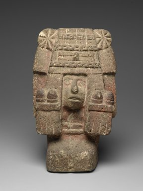 Aztec. <em>Chicomecoatl - Seated Figure of Goddess</em>, ca. 1440-1521. Stone, pigment, 15 1/2 x 9 1/2 x 6 1/4in. (39.4 x 24.1 x 15.9cm). Brooklyn Museum, By exchange, 48.22.3. Creative Commons-BY (Photo: Brooklyn Museum, 48.22.3_PS2.jpg)