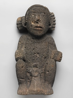 Aztec. <em>Sculpture of Male Deity</em>, ca. 1440-1521. Volcanic stone, 14 15/16 × 7 1/2 × 6 in., 12 lb. (38 × 19 × 15.2 cm). Brooklyn Museum, By exchange, 48.22.7. Creative Commons-BY (Photo: , 48.22.7_overall_PS9.jpg)