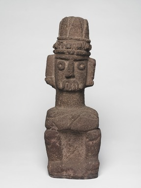 Aztec. <em>Seated Figure of Tlaloc</em>, ca. 1440-1521. Stone, 20 1/2 x 6 11/16 x 5 1/8 in. (52 x 17 x 13 cm). Brooklyn Museum, By exchange, 48.22.8. Creative Commons-BY (Photo: , 48.22.8_front_PS9.jpg)