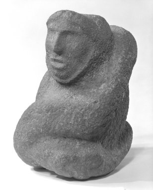 Aztec. <em>Figure of Serpent with a Human Head</em>, ca. 1440-1521. Stone, 8 11/16 x 11 x 12 3/16 in. (22 x 28 x 31 cm). Brooklyn Museum, By exchange, 48.22.9. Creative Commons-BY (Photo: Brooklyn Museum, 48.22.9_bw.jpg)