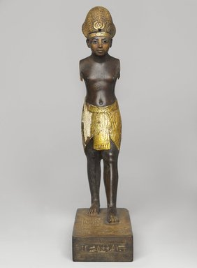 <em>Amunhotep III</em>, ca. 1390-1352 B.C.E. Wood, gold leaf, glass, pigment, Total height: 10 3/8 in. (26.3 cm). Brooklyn Museum, Charles Edwin Wilbour Fund, 48.28. Creative Commons-BY (Photo: Brooklyn Museum, 48.28_front_PS4.jpg)