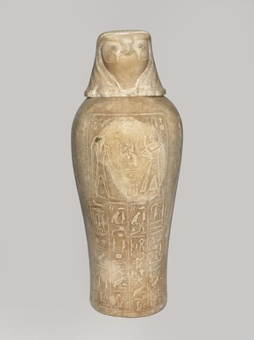 <em>Canopic Jar and Cover of Tjuli</em>, ca. 1279-1213 B.C.E. Egyptian alabaster (calcite), pigment