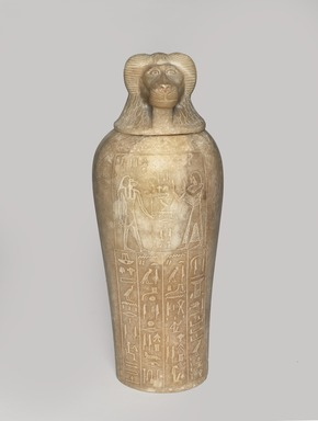 <em>Canopic Jar and Cover of Tjuli</em>, ca. 1279-1213 B.C.E. Egyptian alabaster (calcite), 18 1/2 x Diam. 6 11/16 in. (47 x 17 cm). Brooklyn Museum, Charles Edwin Wilbour Fund, 48.30.3a-b. Creative Commons-BY (Photo: Brooklyn Museum, 48.30.3a-b_PS9.jpg)