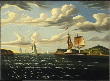 Thomas Chambers (American, 1808-died after 1866). <em>Staten Island and the Narrows</em>, ca. 1835-1855. Oil on canvas, frame: 26 1/2 x 35 x 2 1/2 in. (67.3 x 88.9 x 6.4 cm). Brooklyn Museum, Dick S. Ramsay Fund, 48.53 (Photo: Brooklyn Museum, 48.53_SL1.jpg)