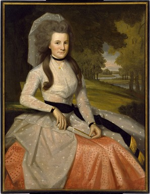 Ralph Earl (American, 1751-1801). <em>Clarissa Seymour (later Mrs. Truman Marsh)</em>, 1789. Oil on canvas, 47 9/16 x 35 15/16 in. (120.8 x 91.3 cm). Brooklyn Museum, Museum Collection Fund, 48.8 (Photo: Brooklyn Museum, 48.8_SL3.jpg)