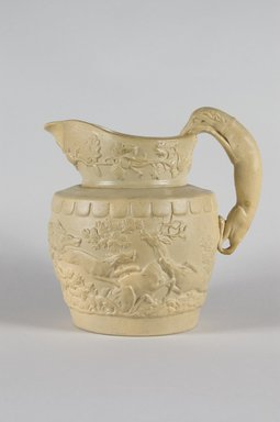 D. & J. Henderson. <em>Pitcher</em>, 1829-1833. Stoneware, smear glaze, 8 3/4 in. (22.2 cm). Brooklyn Museum, Gift of Arthur W. Clement, 49.1.2. Creative Commons-BY (Photo: Brooklyn Museum, 49.1.2_PS5.jpg)
