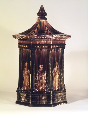 Lyman Fenton & Co. (American, 1849-1852). <em>Water Cooler with Panels</em>, ca. 1853. Flint enamel-glazed earthenware, metal, 23 1/2 x 12 1/4 in. (59.7 x 31.1 cm). Brooklyn Museum, Dick S. Ramsay Fund, 49.100.1a-c. Creative Commons-BY (Photo: Brooklyn Museum, 49.100.1a-c.jpg)