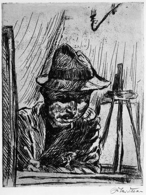 Ludwig Meidner (German, 1884-1966). <em>Self-Portrait with Hat at Drawing Board, by Gaslight (Selbstbildnis mit Hut beim Zeichenbrett, mit Gaslicht)</em>, 1924. Etching on wove paper, Image (Plate): 10 1/2 x 8 3/16 in. (26.7 x 20.8 cm). Brooklyn Museum, Caroline A.L. Pratt Fund, 49.102.3. © artist or artist's estate (Photo: Brooklyn Museum, 49.102.3_bw_IMLS.jpg)