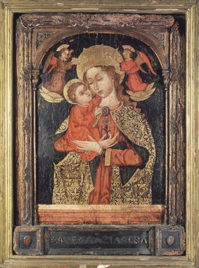 Southern Italian School. <em>Virgin and Child with Two Angels</em>, late 15th century. Tempera on poplar panel, 24 x 17 1/8 in. (61 x 43.5 cm). Brooklyn Museum, Bequest of Walter H. Crittenden, 49.110 (Photo: Brooklyn Museum, 49.110.jpg)