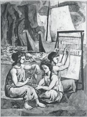 Federico Castellon (American, born Spain, 1914-1971). <em>The Women of Phoenicia</em>, 1949. Watercolor on composition board / gouache on masonite, 40 x 29 7/8 in. (101.6 x 75.9 cm). Brooklyn Museum, Carll H. de Silver Fund, 49.118. © artist or artist's estate (Photo: Brooklyn Museum, 49.118_bw.jpg)