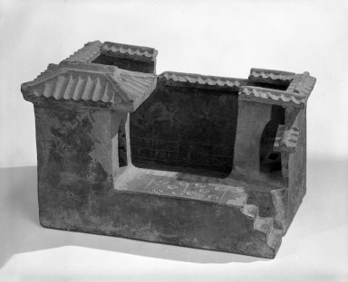 <em>Model of farm outhouses with pig pen</em>, 386-907. Earthenware, 7 15/16 x 8 7/16 x 11 13/16 in. (20.1 x 21.5 x 30 cm). Brooklyn Museum, By exchange, 49.124.2. Creative Commons-BY (Photo: Brooklyn Museum, 49.124.2_bw.jpg)
