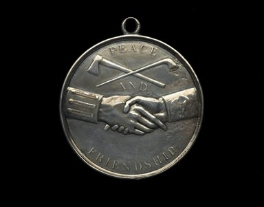 John Matthias Reich (American, born Germany, 1768-1833). <em>Thomas Jefferson Indian Peace Medal</em>, ca. 1801. Silver, Diameter: 4 in. (10.2 cm). Brooklyn Museum, Gift of F. Ethel Wickham in memory of her father, W. Hull Wickham, 49.135.4. Creative Commons-BY (Photo: Brooklyn Museum, 49.135.4_front_PS2.jpg)