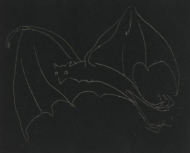 Anne Goldthwaite (American, 1869-1944). <em>Night Series: The Bat</em>, 20th century. Etching, white line on wove paper, Plate: 49 3/16 x 59 13/16 in. (125 x 152 cm). Brooklyn Museum, Gift of the Estate of Anne Goldthwaite, 49.164.12 (Photo: Brooklyn Museum, 49.164.12_PS2.jpg)