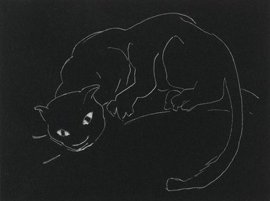 Anne Goldthwaite (American, 1869-1944). <em>Night Series: The Cat</em>, 20th century. Lithograph, white line on wove paper, 4 1/2 x 6 in. (11.4 x 15.2 cm). Brooklyn Museum, Gift of the Estate of Anne Goldthwaite, 49.164.13 (Photo: Brooklyn Museum, 49.164.13_PS2.jpg)