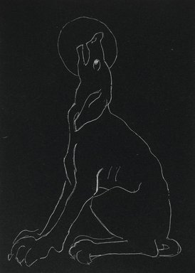 Anne Goldthwaite (American, 1869-1944). <em>Night Series: Dog Baying the Moon</em>, 20th century. Lithograph, white line on wove paper, Plate: 6 x 4 11/16 in. (15.2 x 11.9 cm). Brooklyn Museum, Gift of the Estate of Anne Goldthwaite, 49.164.15 (Photo: Brooklyn Museum, 49.164.15_PS2.jpg)