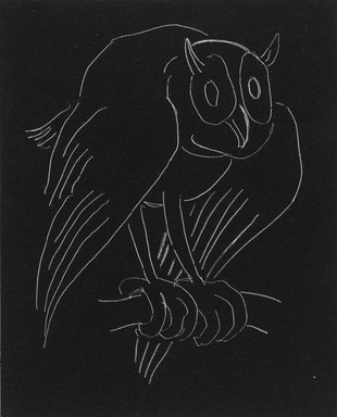 Anne Goldthwaite (American, 1869-1944). <em>Night Series: The Owl</em>, 20th century. Lithograph, white line on woven paper, Plate: 5 9/16 x 4 1/2 in. (14.2 x 11.4 cm). Brooklyn Museum, Gift of the Estate of Anne Goldthwaite, 49.164.16 (Photo: Brooklyn Museum, 49.164.16_PS2.jpg)