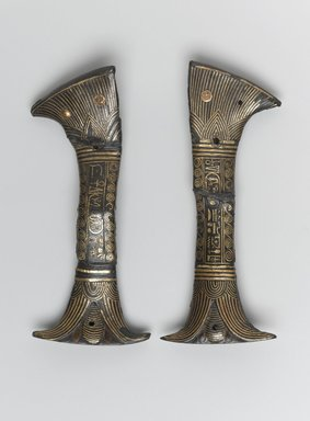 <em>Two Halves of a Knife Handle</em>, ca. 1294-1279 B.C.E. Bronze, copper, gold, 2 1/16 x 4 13/16 in. (5.3 x 12.3 cm). Brooklyn Museum, Charles Edwin Wilbour Fund, 49.167a-b. Creative Commons-BY (Photo: Brooklyn Museum, 49.167_front_PS1.jpg)