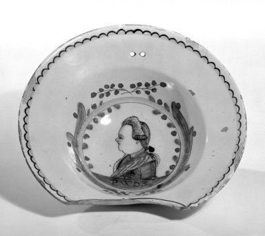 <em>Delft Bowl</em>, 1750-1770. Earthenware, 3 1/8 x 10 1/2 in. (7.9 x 26.7 cm). Brooklyn Museum, Museum Collection Fund, 49.182.1. Creative Commons-BY (Photo: Brooklyn Museum, 49.182.1_bw.jpg)