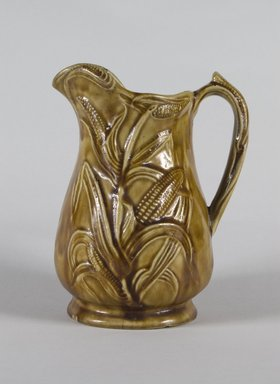 Sidney Risley. <em>Pitcher</em>, 1836-1875. Glazed stoneware, 8 1/2 in. (21.6 cm). Brooklyn Museum, Museum Collection Fund, 49.187.1. Creative Commons-BY (Photo: Brooklyn Museum, 49.187.1_PS5.jpg)