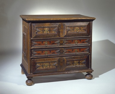Unknown. <em>Chest of Drawers</em>, ca. 1690. Oak, pine, brass, 36 x 40 x 21 1/2 in. (91.5 x 101.6 x 54.6 cm). Brooklyn Museum, Bequest of Mrs. William Sterling Peters, by exchange, 49.190.2. Creative Commons-BY (Photo: Brooklyn Museum, 49.190.2_SL1.jpg)