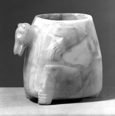 <em>Alabaster Vase</em>. Tokali, 5 7/8 x 6 1/2 x 3 15/16 in. (15 x 16.5 x 10 cm). Brooklyn Museum, Gift of Albert Gallatin, 49.20.1. Creative Commons-BY (Photo: Brooklyn Museum, 49.20.1_acetate_bw.jpg)