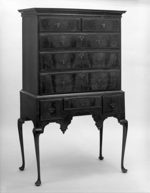 American. <em>High chest</em>, ca.1740. Walnut, pine, maple, 65 1/2 x 39 x 21 1/2 in. (166.4 x 99.1 x 54.6 cm). Brooklyn Museum, Gift of Sidney Buchman, 49.209.1. Creative Commons-BY (Photo: Brooklyn Museum, 49.209.1_bw.jpg)