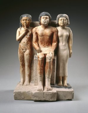 <em>Statue of Nykara and his Family</em>, ca. 2455-2350 B.C.E. Limestone, pigment, 22 5/8 x 14 1/2 x 10 7/8 in. (57.5 x 36.8 x 27.7 cm). Brooklyn Museum, Charles Edwin Wilbour Fund, 49.215. Creative Commons-BY (Photo: Brooklyn Museum, 49.215_SL1.jpg)