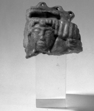 Maya. <em>Fragment of an Ornament</em>. Jade Brooklyn Museum, Gift of Albert Gallatin, 49.217. Creative Commons-BY (Photo: Brooklyn Museum, 49.217_acetate_bw.jpg)