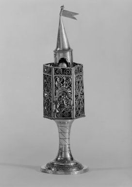 <em>Spice Box for Habdalah Service</em>, ca. 1820-1830. Silver, 8 3/4 x 2 5/8 x 2 5/8 in. (22.2 x 6.7 x 6.7 cm). Brooklyn Museum, Purchased with funds given by Herman Mendes, 49.228.13. Creative Commons-BY (Photo: Brooklyn Museum, 49.228.13_bw.jpg)