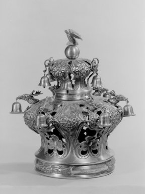 J. Szekman. <em>Torah Crown</em>, 1860. Silver, 11 5/8 x 11 3/4 x 11 3/4 in. (29.5 x 29.8 x 29.8 cm). Brooklyn Museum, Purchased with funds given by S. Ralph Lazrus, 49.228.15. Creative Commons-BY (Photo: Brooklyn Museum, 49.228.15_bw.jpg)