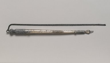 <em>Pair of Torah Pointers</em>, 20th century. Silver, semiprecious stones, Without chain: 10 1/4 x 5/8 x 5/8 in. (26 x 1.6 x 1.6 cm). Brooklyn Museum, Purchased with funds given by Mrs. Elsie Socolof and Mr. Joel E. Rothenberg, 49.228.17a-b. Creative Commons-BY (Photo: Brooklyn Museum, 49.228.17a_PS2.jpg)