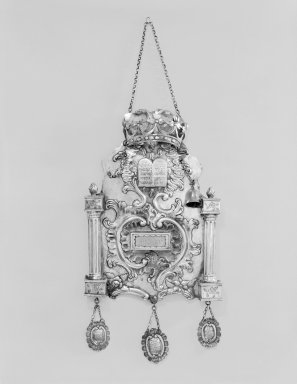 <em>Torah Breastplate</em>, ca. 1760. Silver, 17 7/8 x 9 5/8 x 2 in. (45.4 x 24.4 x 5.1 cm). Brooklyn Museum, Purchased with funds given by Moses Ginsburg, 49.228.9. Creative Commons-BY (Photo: Brooklyn Museum, 49.228.9_edited_SL3.jpg)