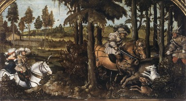 Hans Wertinger (German, 1465/70-1533). <em>The Boar Hunt</em>, ca. 1525-1530. Oil on cradled panel, 8 1/4 x 15 1/4 in., 90 lb. (21 x 38.7 cm, 40.82kg). Brooklyn Museum, Gift of Mrs. Watson B. Dickerman, 49.230 (Photo: Brooklyn Museum, 49.230.jpg)