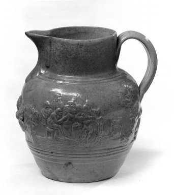 D. & J. Henderson. <em>Pitcher</em>, 1829-1839. Stoneware covered with yellow lead glaze, 7 1/8 x 3 7/8 in. (18.1 x 9.8 cm). Brooklyn Museum, Dick S. Ramsay Fund, 49.2. Creative Commons-BY (Photo: Brooklyn Museum, 49.2_bw.jpg)