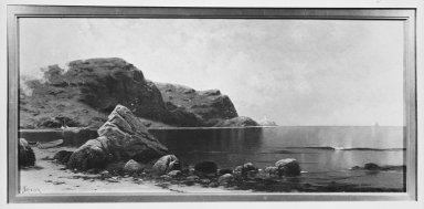 Alfred Thompson Bricher (American, 1837-1908). <em>Marine</em>, after 1885. Oil on canvas, 15 1/16 x 33 1/8 in. (38.3 x 84.1 cm). Brooklyn Museum, Gift of Florence Logan, 49.3 (Photo: Brooklyn Museum, 49.3_framed_bw.jpg)