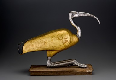 <em>Ibis Coffin</em>, 305-30 B.C.E. Wood, silver, gold leaf, gesso, rock crystal, animal remains (Glossy Ibis - Plegadis falcinellus, or an African Sacred Ibis - Threskiornis aethiopicus), linen, pigment, 16 3/4 x 8 x 22 in. (42.5 x 20.3 x 55.9 cm). Brooklyn Museum, Charles Edwin Wilbour Fund, 49.48. Creative Commons-BY (Photo: Brooklyn Museum (Gavin Ashworth,er), 49.48_Gavin_Ashworth_photograph.jpg)