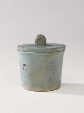 <em>One of a Set of Jars for Seven Sacred Oils or Unguents</em>, 305-30 B.C.E. Faience, 2 1/2 x 2 3/8 in. (6.4 x 6 cm). Brooklyn Museum, Charles Edwin Wilbour Fund, 49.52.1a-b. Creative Commons-BY (Photo: Brooklyn Museum, 49.52.1a-b_PS9.jpg)