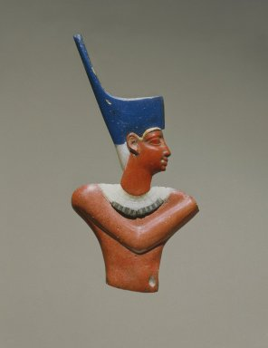 <em>Inlay Figure of a King in Four Pieces</em>, 305-30 B.C.E. Glass, gold leaf, 5 9/16 x 2 3/8 x 5/16 in. (14.1 x 6 x 0.8 cm). Brooklyn Museum, Charles Edwin Wilbour Fund, 49.61.1-.4. Creative Commons-BY (Photo: Brooklyn Museum, 49.61.1-.4_SL1.jpg)