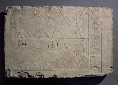 <em>Relief of Men Presenting Cattle</em>, ca. 2500-2350 B.C.E. Limestone, 20 1/16 x 29 15/16 in. (51 x 76 cm). Brooklyn Museum, Charles Edwin Wilbour Fund, 49.62. Creative Commons-BY (Photo: Brooklyn Museum, 49.62_SL3.jpg)