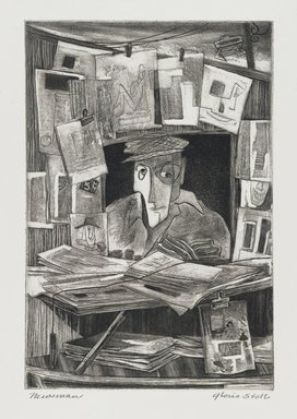 Gloria Stoll (American, active 20th century). <em>Newsman</em>, 1949. Etching and aquatint on paper, 8 x 5 7/16 in. (20.3 x 13.8 cm). Brooklyn Museum, 49.84. © artist or artist's estate (Photo: Brooklyn Museum, 49.84_PS4.jpg)