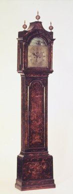 (of clock works) B. Barrwel (American, active last half of 18th century). <em>Tall Clock</em>, ca. 1750. Red pine, brass, glass, 96 1/4 x 20 3/8 x 10 1/2 in. (244.5 x 51.8 x 26.7 cm). Brooklyn Museum, Bequest of Mrs. William Sterling Peters, by exchange, 50.114. Creative Commons-BY (Photo: Brooklyn Museum, 50.114.jpg)