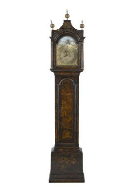 (of clock works) B. Barrwel (American, active last half of 18th century). <em>Tall Clock</em>, ca. 1750. Red pine, brass, glass, 96 1/4 x 20 3/8 x 10 1/2 in. (244.5 x 51.8 x 26.7 cm). Brooklyn Museum, Bequest of Mrs. William Sterling Peters, by exchange, 50.114. Creative Commons-BY (Photo: Brooklyn Museum, 50.114_PS2.jpg)