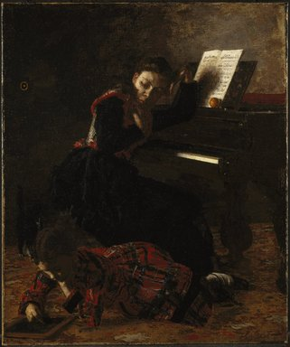 Thomas Eakins (American, 1844-1916). <em>Home Scene</em>, ca. 1871. Oil on canvas, 21 7/16 x 18 in. (54.4 x 45.7 cm). Brooklyn Museum, Gift of George A. Hearn and Charles A. Schieren, by exchange, Frederick Loeser Fund and Dick S. Ramsay Fund, 50.115 (Photo: Brooklyn Museum, 50.115_SL1.jpg)