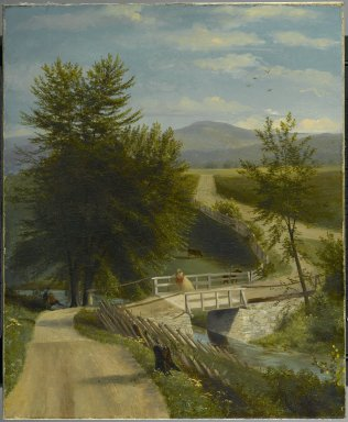 Alexander Ransom (American, active 1840-1865). <em>Lover's Walk</em>, ca. 1850-1860. Oil painting, 27 3/16 x 22 5/16 in. (69.1 x 56.7 cm). Brooklyn Museum, Anonymous gift, 50.119 (Photo: Brooklyn Museum, 50.119_PS2.jpg)