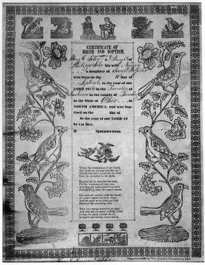 American. <em>Certificate of Birth and Baptism</em>, ca. 1830-1840. Woodcut on wove paper, sheet: 16 x 12 1/2 in. (40.6 x 31.8 cm). Brooklyn Museum, Dick S. Ramsay Fund, 50.122.4 (Photo: Brooklyn Museum, 50.122.4_acetate_bw.jpg)