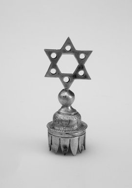 Jewish. <em>Wine Bottle Top</em>, 19th century. Silver, 2 1/2 x 1 x 1 in. (6.4 x 2.5 x 2.5 cm). Brooklyn Museum, Gift of Mrs. Morris Koven, 50.133.2. Creative Commons-BY (Photo: Brooklyn Museum, 50.133.2.jpg)