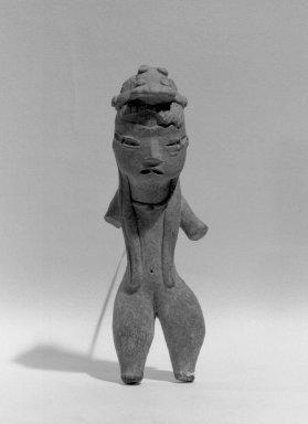 Tlatilco. <em>Female Figurine</em>. Ceramic, 4 1/2 x 1 7/16 in. (11.4 x 3.7 cm). Brooklyn Museum, Gift of Mr. and Mrs. Alastair B. Martin , 50.140. Creative Commons-BY (Photo: Brooklyn Museum, 50.140_acetate_bw.jpg)