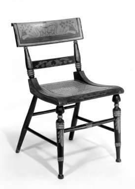 American. <em>Side Chair</em>, 1825-1835. Painted, stenciled, partly caned, H: 31 1/2 in. (80 cm). Brooklyn Museum, Bequest of Mrs. William Sterling Peters, 50.141.122a. Creative Commons-BY (Photo: Brooklyn Museum, 50.141.122a_bw.jpg)